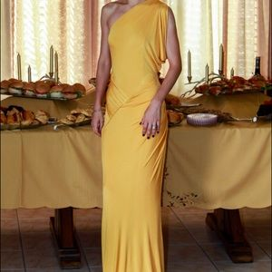 Bebe yellow evening gown size xxs (stretchy)
